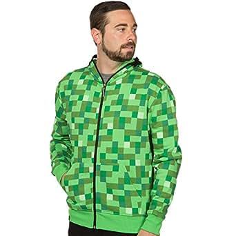 Minecraft Men's Creeper Premium Zip-Up Hoodie (Green, X-Small)