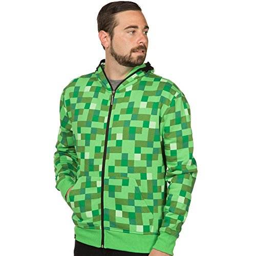 [Minecraft Men's Creeper Premium Zip-Up Hoodie (Green, Large)] (Adult Minecraft Costumes)