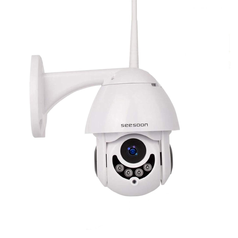 PTZ WiFi IP Camera 1080P HD H 265/H 264 Wireless Waterproof CCTV Security  Dome Camera with 4mm F1 2 CS Lens 355° Pan/ 90° Tilt, IR-Cut Night Vision,