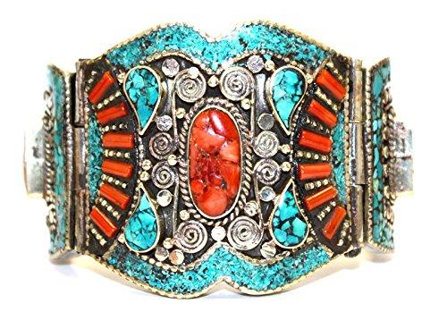 Boho Bracelet Coral Turquoise Bracelet Tibetan Bracelet Nepal Tibet Bracelet Bangles