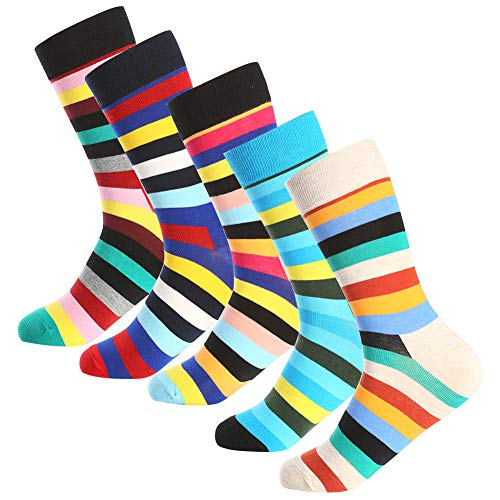 Bonangel Men's Fun Dress Socks - 5 Pairs Colorful Funny Novelty Crazy Crew Socks Pack,Cool Casual Socks with Bright Stripe Patterns (5 pairs-Stripe) ()