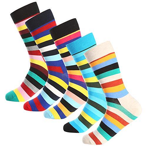 Bonangel Men's Fun Dress Socks - 5 Pairs Colorful Funny Novelty Crazy Crew Socks Pack,Cool Casual Socks with Bright Stripe Patterns (5 pairs-Stripe)