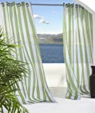 Outdoor Decor Escape Stripe Grommet Top Curtain Panel-Green, 54 x 96''