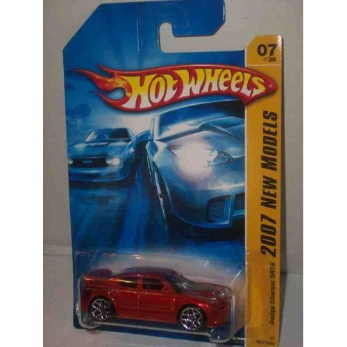2007 New Models #7 Dodge Charger SRT8 Red With Red Wing #2007-7 Collectible Collector Car Mattel Hot Wheels 1:64 Scale