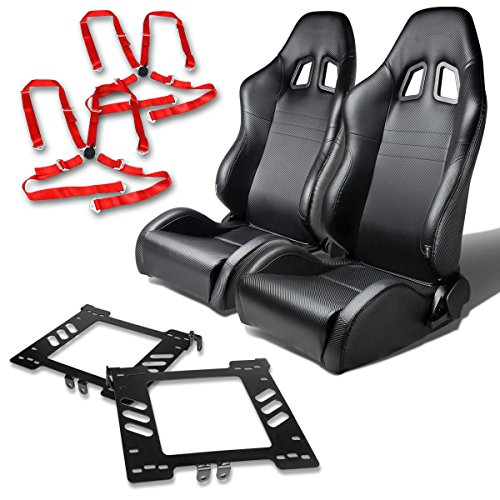For VW Jetta/Golf/Beetle Mk4 Pair of PVC Leather Racing Seats (Carbon Fiber Look)+Seat Bracket+4-Point Camlock Red - Belt Seat Beetle