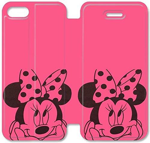 Flip étui en cuir PU Stand pour Coque iPhone 5 5S, bricolage 5 5S cas de téléphone portable en cuir Disney Mickey Mouse Minnie Mouse 5 B1P3WL Coque iPhone Coque Cases personnalisées