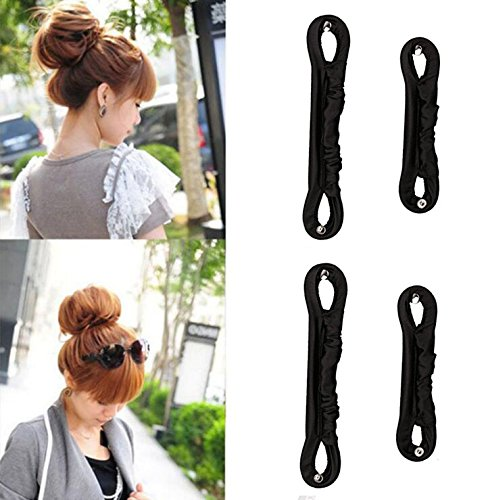 4PCS Fireboomoon Magic Clip French Twist Hairstyle Donut Clip Maker Former Twist Tool Curler LS Hairstyle Musthaves Tool Magic Twist Magic Bun Maker Curler Formers Magic Clip FrenchBlack