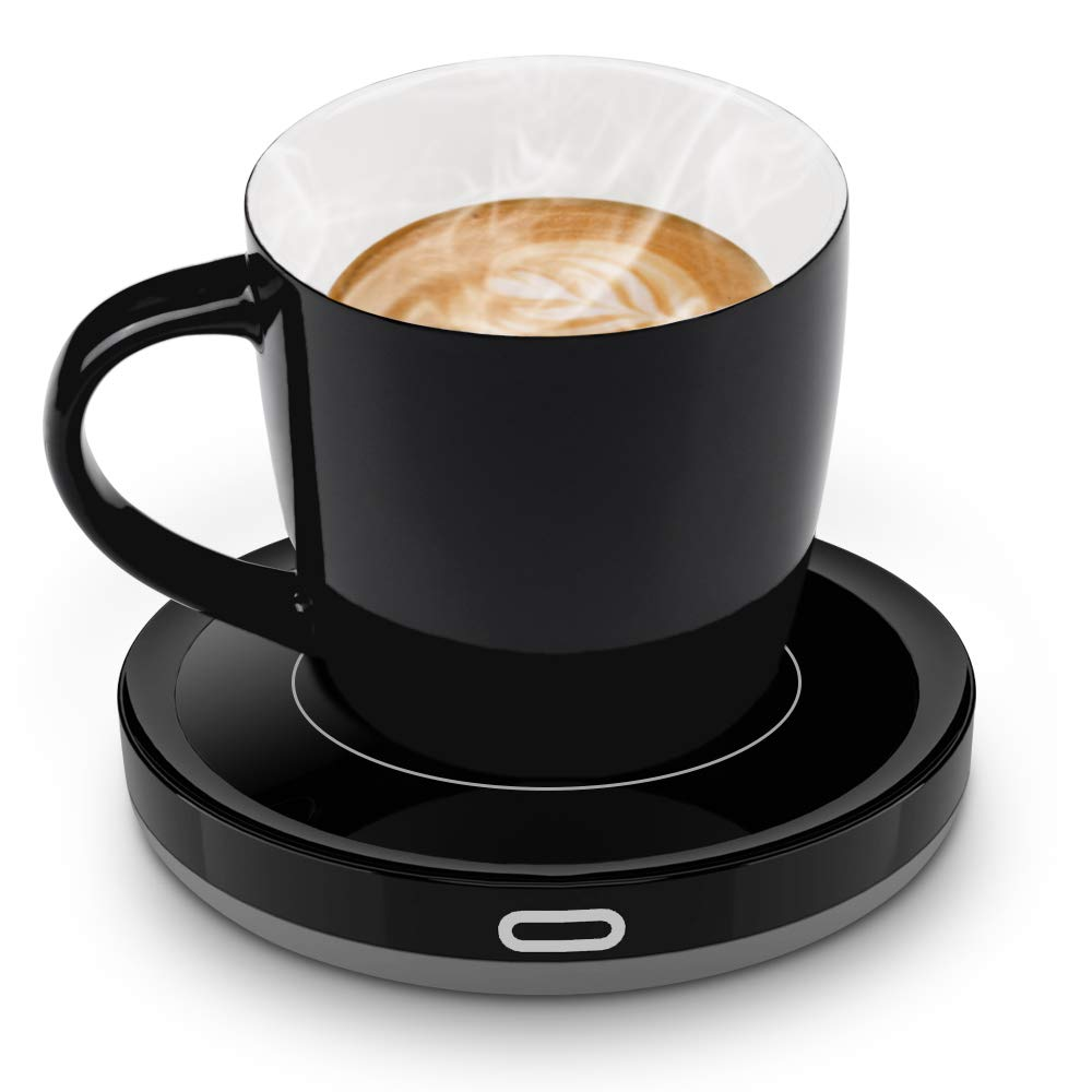 BESTINNKITS Smart Coffee Cup Warmer Set, Auto On/Off Mug Warmer w/Mug, Gravity-induction Cup Warmer for Office Desk Use, Heating Plate 135℉/55℃