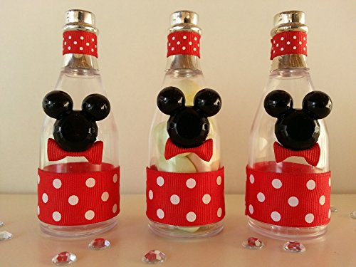 12 Mickey Mouse Fillable Champagne Bottles Baby Shower Favors Prizes Games Décor -