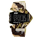 Men's or boys's camouflage aircraft military style wristwatch,Unique colorful led luminous american fighters waterproof electronic sports jelly vintage watch for kids or couples -F