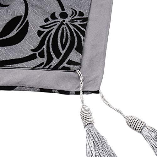 Grigio VCB Flock Floral Taffeta Bianco retr/ò Decorativo da Sposa Runner Panno Letto