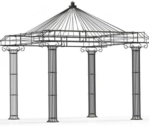 Carpa para jardín, pabellón de rosas, carpa de hierro, pabellón de metal redondo Empire 300 x 300 cm (galvanizado): Amazon.es: Jardín