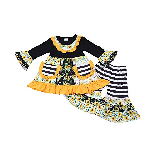 Yawoo Haan Baby Girl Long Sleeve Sunflower Ruffle Pants Set Fall Autumn Winter Outfit Boutique Clothing 3T Black -