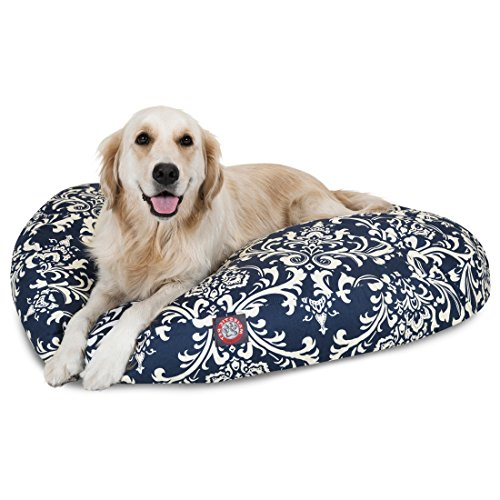 Medium White Blue Navy Paisley Pattern Dog Bed, Floral Modern Round Pet Bedding, Bold Fun Print, Features Removable Cover, Plush Comfort Design, Stylish, Polyester by N2