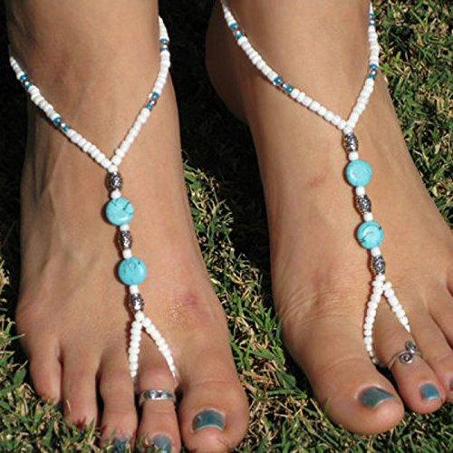 Bracelet de cheville,Malloom Perles De Turquoise Perlée Pieds Nus Stretch Chaîne De Cheville De Bijoux De Pied Sandale