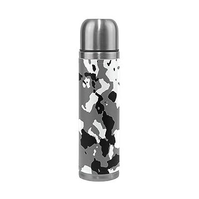Jstel Camouflage 38en acier inoxydable Gourde thermos anti-fuites double Bouteille Vide pour café chaud ou froid à thé + Boisson Tasse Top 500ml