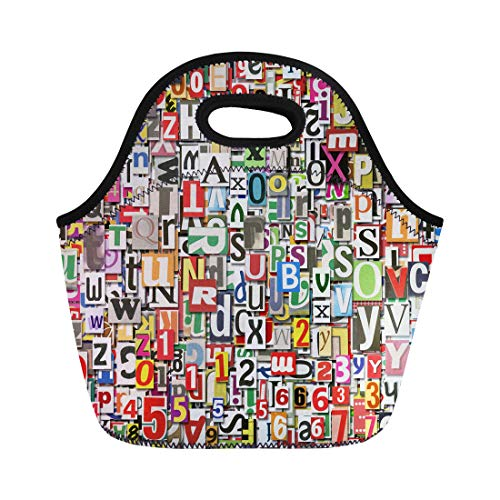 Semtomn Lunch Bags Blue Abstract Designed Digital Collage Made of Newspaper Clippings Neoprene Lunch Bag Lunchbox Tote Bag Portable Picnic Bag Cooler Bag