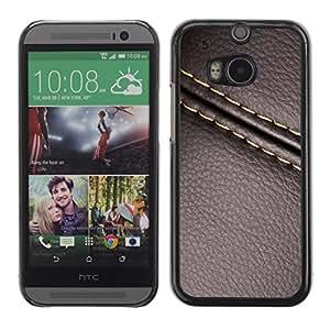 Cubierta de la caja de protección la piel dura para el HTC ONE M8 2014 - stitch leather brown texture