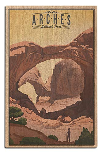 Lantern Press Arches National Park, Utah - Double Arch - Litho 97703 (12x18 Wood Wall Sign, Wall Decor Ready to Hang)