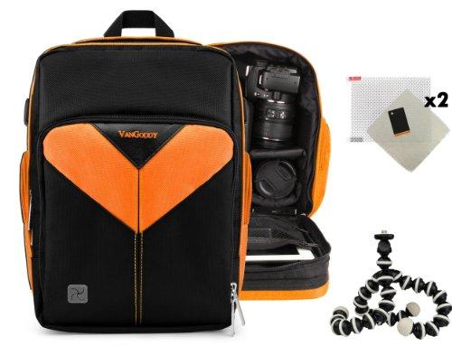 Sparta Travel Nylon Backpack Bag (Orange, Black) for Panasonic Lumix FZ47, Lumix FZ70 DSLR Camera and Screen Protector and Mini Tripod