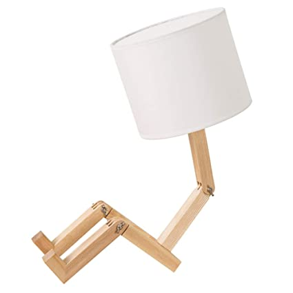NCTM Lámpara de Mesa Regulable en Madera para Hombre ...