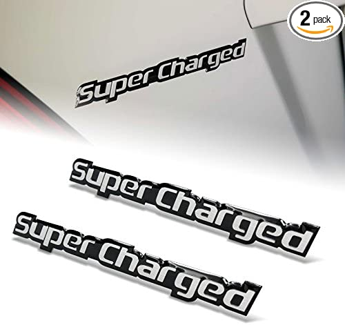 BRAND NEW Embossed Aluminum SUPERCHARGED Badge Emblem SUPERCHARGED Black Red 2