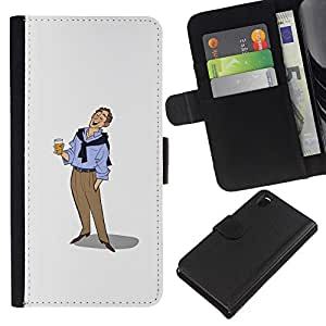 ZCell / Sony Xperia Z3 D6603 / Beer Man Art Drawing Holiday Relaxed / Caso Shell Armor Funda Case Cover Wallet / Cerveza Hombre Arte Dibujo vacac