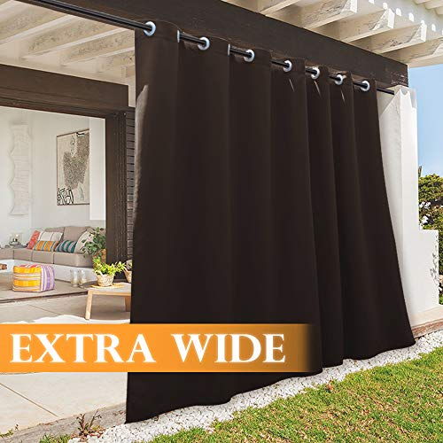 RYB HOME Porch Curtains Outdoor Farmhouse Drapes, Blackout Standing Outdoor Privacy Curtain for Indoor Door Blind/Living Room/Garden Lawn, Wide 100 x Long 84, 1 Panel, Brown (For Material Curtains Best Outdoor)