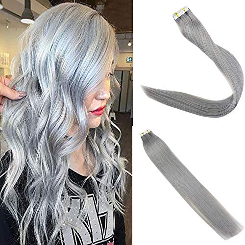 Easyouth Color Silver 14inch Double Sided Tape in Straight Human Hair Extensions Invisible Skin Weft Tape Remy Hair Seamless 25 Gram Per -