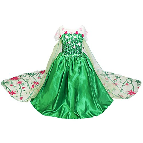 iEFiEL Girls Green Fairyland Princess Costume Dress with Long Train Floral Cape Green 5-6 - Fairyland Costume
