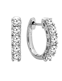 0.50 Carat (ctw) 14K Gold Real Round Cut White Diamond Ladies Huggies Hoop Earrings