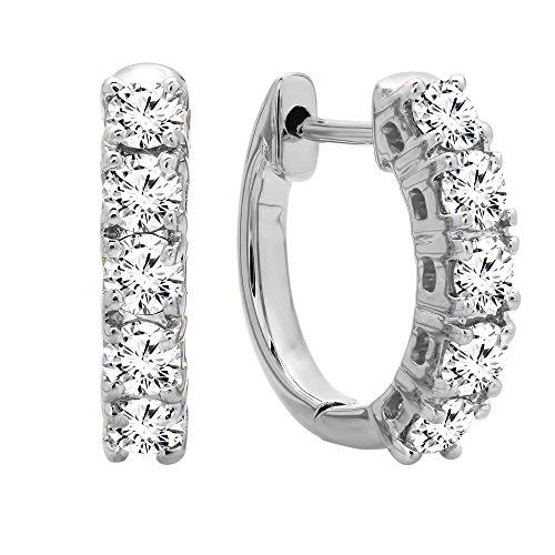 Diamond Earrings Huggie Classic - Dazzlingrock Collection 0.50 Carat (ctw) 10K Real Round Cut White Diamond Ladies Huggies Hoop Earrings, White Gold