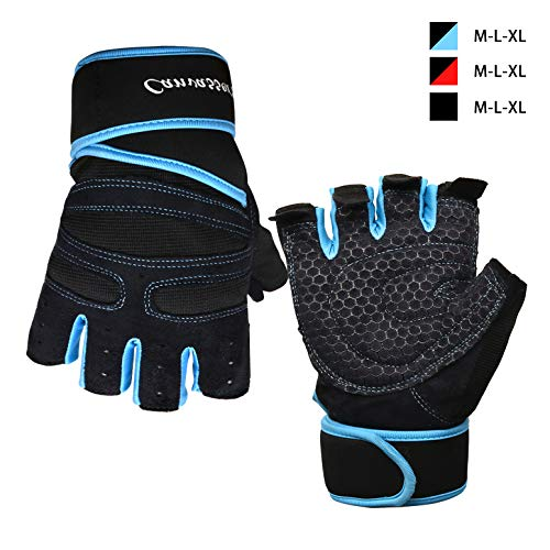 Weight Lifting Gloves, Anti-Callus Exercise Gloves Panda Foam Pad Full Palm, Durable Weight Gloves with Wrist Strap Support and Velcro Workout Gloves, Men &Women Well-Ventilated Gym Gloves (Blue, M)