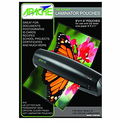 """Apache 100 Pack of 3 Mil Letter Size (9 x 11.5"""") Crystal Clear Universal Thermal Laminating Pouches by Apache"""