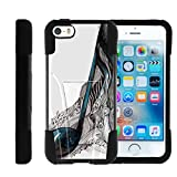TurtleArmor | Compatible for Apple iPhone SE Case | iPhone 5/5s Case [Gel Max] High Impact Proof Kickstand Case Silicone Hard Cover Combo Music Design Collection - Artistic Music Notes