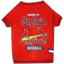 MLB Saint Louis Cardinals Dog T-Shirt, Medium. - Licensed Shirt for Pets Team Colored with Team Logos