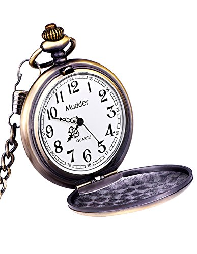 Mudder Classic Smooth Vintage Steel Mens Pocket Watch Xmas Gift
