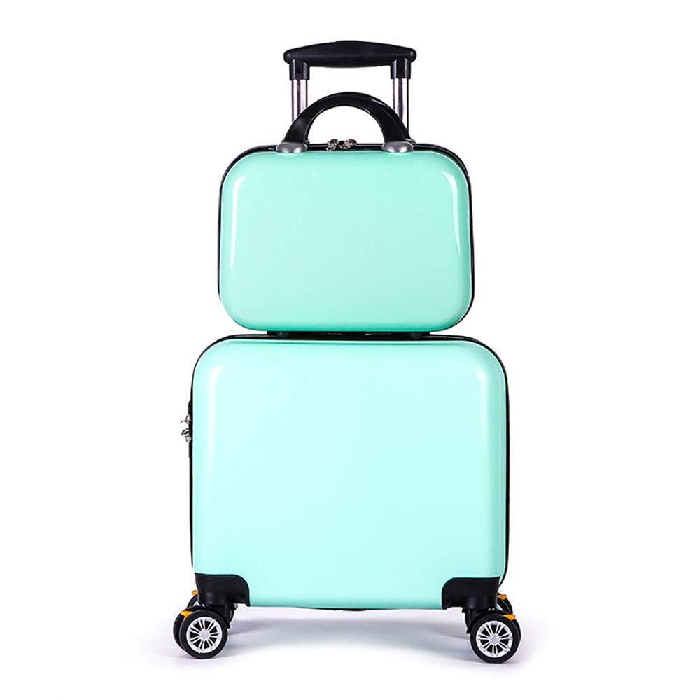 学生フラットプレートミラートロリーケース旅行旅行ユニバーサルホイールスーツケース化粧品バッグ (Color : Mint green, Size : 40x23x40cm+30x22x16cm)   B07QXK1S35