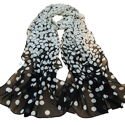 MALLOOM Women Elegant Dot Long Soft Wrap Lady Shawl Silk Chiffon Scarf (Dot Silk Scarf)