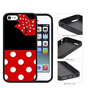 Cute Red and White Polka Dots Pattern on Bottom and Bow with Black Background Hard Rubber TPU Phone Case Cover iPhone i5 5s