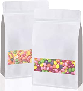 Udefineit 50PCS White Kraft Stand Up Pouch Bags, Reusable Zip Lock Seal Paper Bag, Food Storage Pouches with U-Notch and Matte Window, Nuts Beans Tea Food Bags (5.5''x9.5''+2.4'')