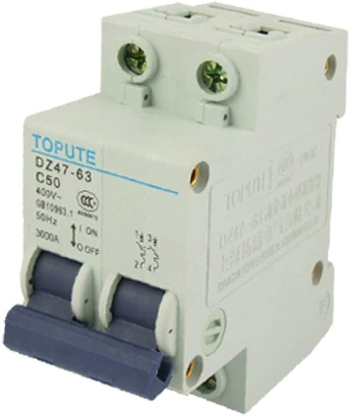 X-DREE 50A Rated Current high Performance Double Pole MCB Essential Mini Circuit Breaker 2ca-27-06-766