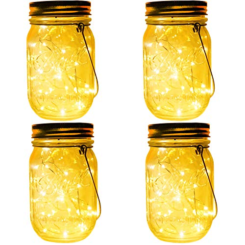(4-Pack 30 LEDs Solar Powered Mason Jar Lights, Watrproof Outdoor Hanging Led Fairy Firefly String Lights Lanterns (Jars & Hangers Included),Best Patio Wedding Party Deck Garden Decor)