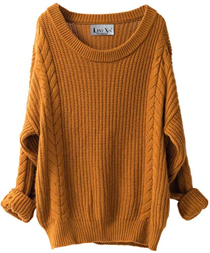 Liny Xin Women's Cashmere Oversized Loose Knitted Crew Neck Long Sleeve Winter Warm Wool Pullover Long Sweater Dresses Tops (Ginger) ()
