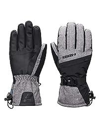 SNOTEK X-Series ST244X Mens Winter Ski Gloves, Waterproof & Windproof (Grey/Black, L)
