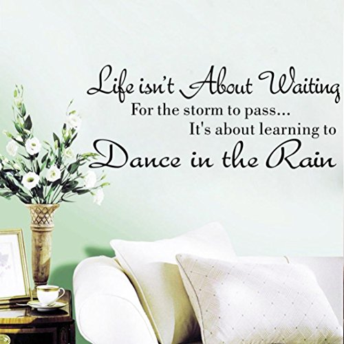 Quaant Wall Sticker,Life Isn't About Waiting Letter Wall Stickers Quote Dancing in rain Wall Decal Words 58 X 25cm Home Decoration Accessories (Black)