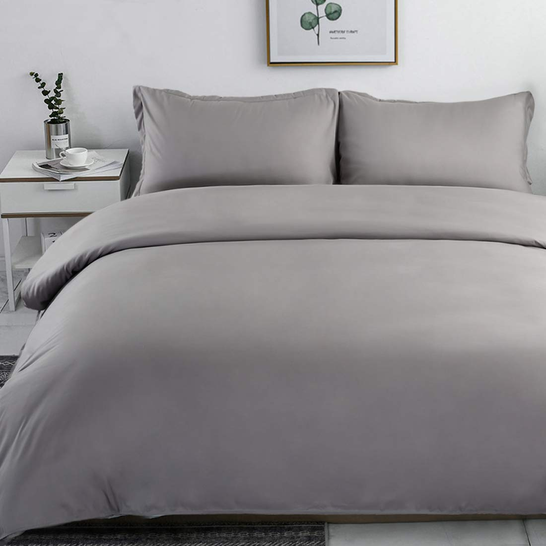INGALIK Bedding 3 Piece Duvet Cover Set Twin Size with Zipper Closure Ultra Soft Breathable 100/% Washed Microfiber Hotel Luxury Solid Color Collection 3pc Grey 1 Duvet Cover + 1 Pillow Shams