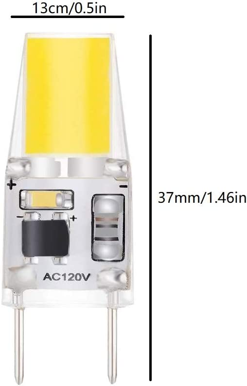LXcom G8 LED Bulb Dimmable 3W G8 COB Lights 30W Halogen Equivalent Daylight White 6000K T4 JCD Type G8 Bi-Pin Base for Kitchen Under Cabinet Light Puck Light 6 Pack AC120V