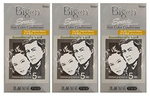 - 3 BOXES of BIGEN SPEEDY Natural Black No.881 Hair Color Conditioner. Darkens grey hair in 5 min
