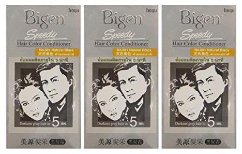 - 3 BOXES of BIGEN SPEEDY Natural Black No.881 Hair Color Conditioner. Darkens grey hair in 5 min